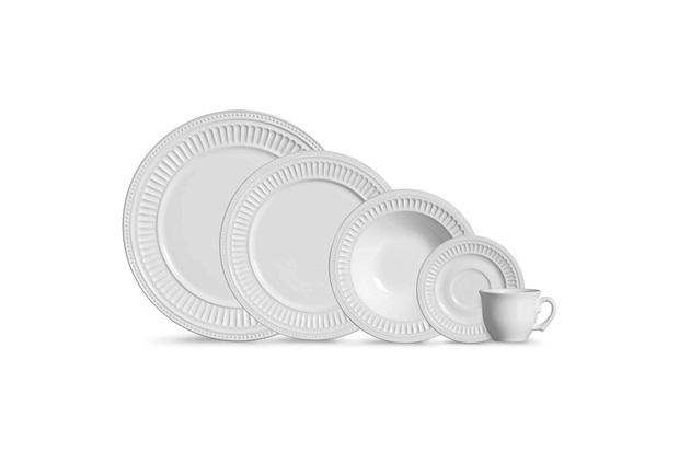 Aparelho de Jantar Poppy em Cerâmica com 20 Peças Branco - Scalla