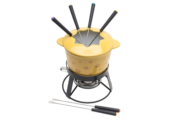 Aparelho para Fondue em Cerâmica com Base em Metal Cheese com 10 Peças - Bon Gourmet