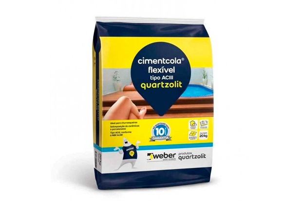 Argamassa Colante Cimentcola Flexível Cinza Saco Plástico 20kg - Quartzolit