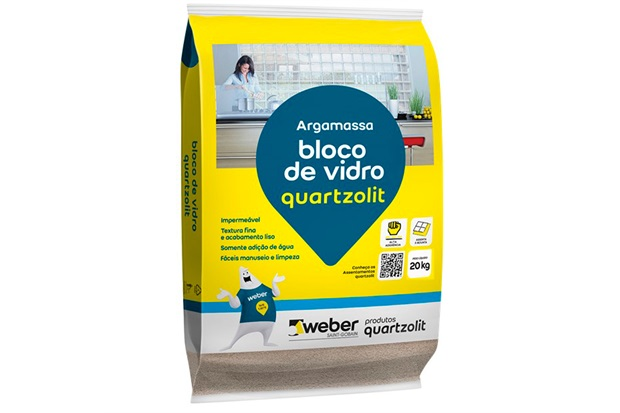Argamassa para Bloco de Vidro Branca Saco Plástico 20kg - Quartzolit