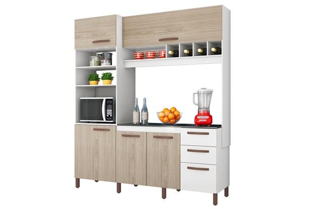 Armário para Cozinha em Mdp com Adega Horizontal Cacau 207x184cm Branco E Teka Albatroz - Albatroz