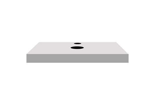 Bancada Yes Vidro com Furo Branco 6,5x60cm - Bumi Móveis