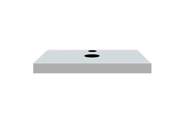 Bancada Yes  Vidro com Furo Branco 6,5x80cm - Bumi Móveis