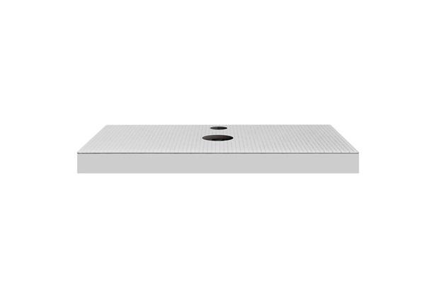 Bancada Yes Vidro com Furo Branco 80cm  - Bumi Móveis