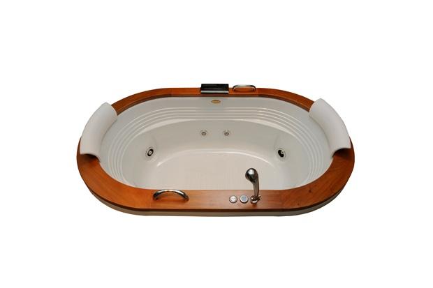 Banheira Oval com Aquecedor 8 Jatos Europe Wood P2 183,5x112cm Branca - Jacuzzi