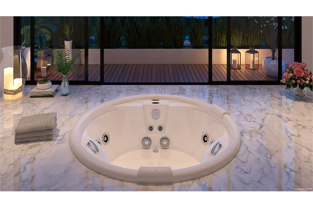 Banheira Redonda com Aquecedor 12 Jatos Paola P2 150x150cm Branca - Jacuzzi