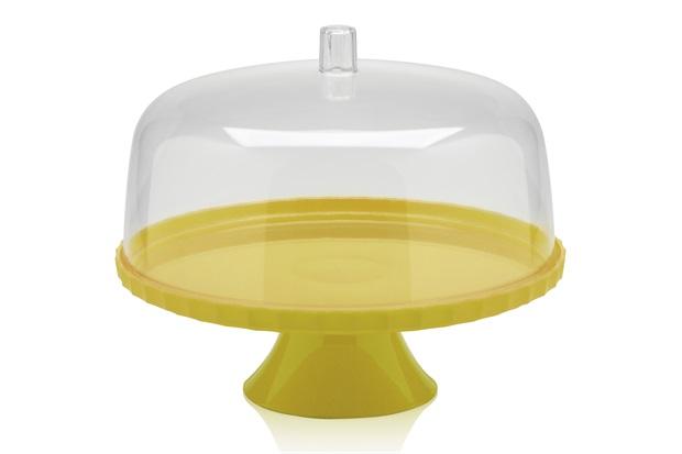 Boleira com Pedestal E Tampa 25cm Amarelo - Martiplast