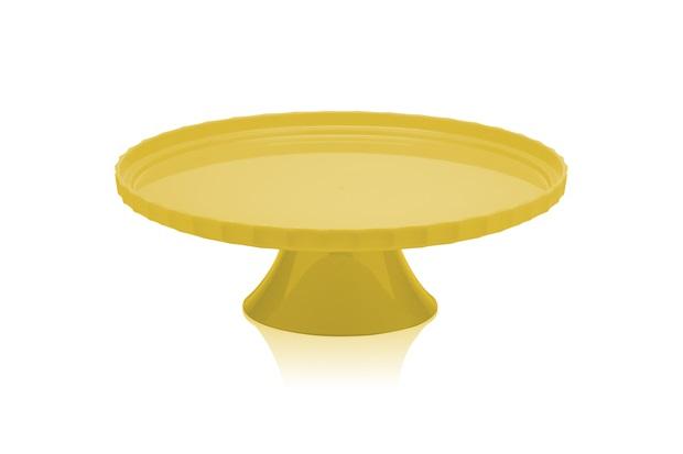 Boleira com Pedestal sem Tampa 25cm Amarelo - Martiplast