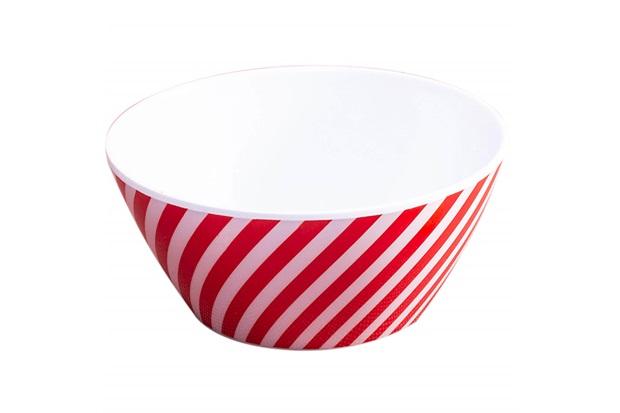 Bowl em Melamina Striped Xmas 15cm Vermelho E Branco - Casa Etna