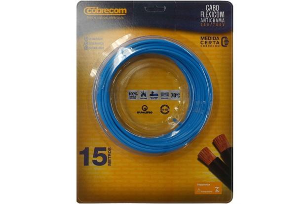 Cabo de Energia 750v 6mm² Flexicom Antichama com 15 Metros Azul - Cobrecom