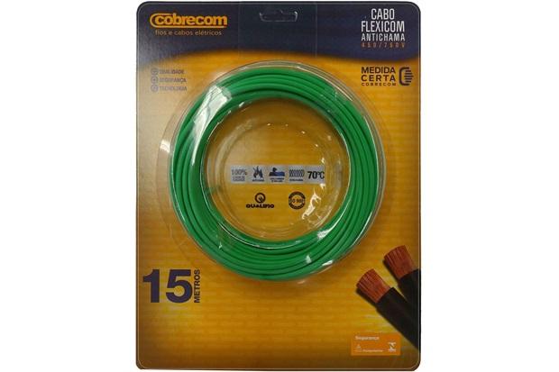 Cabo de Energia 750v 6mm² Flexicom Antichama com 15 Metros Verde - Cobrecom