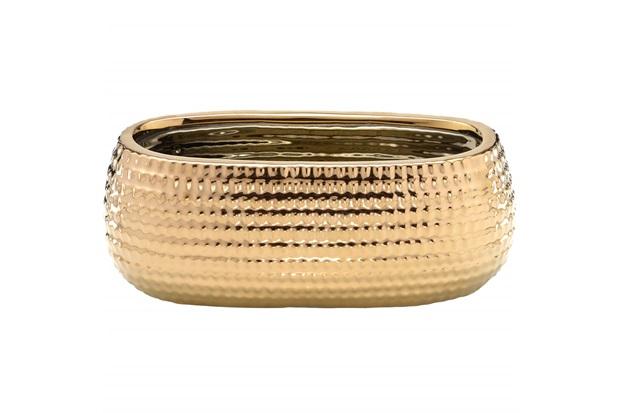 Cachepot em Cerâmica Oval 24,5x10cm Dourado - Importado