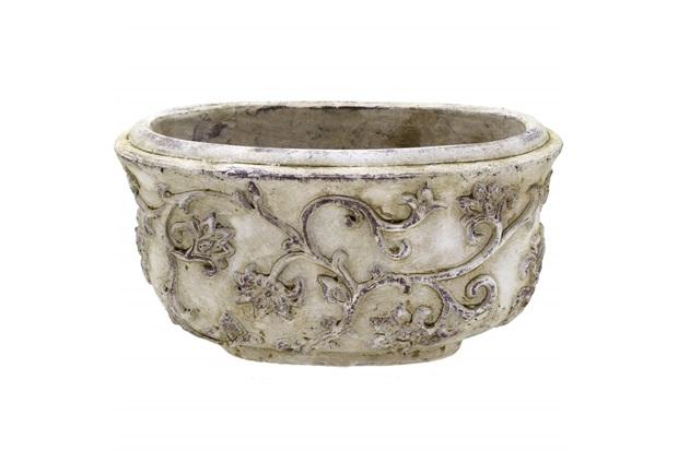 Cachepot em Cerâmica Oval 25x13,5cm Cinza - Importado