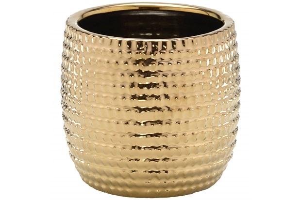 Cachepot em Cerâmica Redondo 13,5x14cm Dourado - Importado