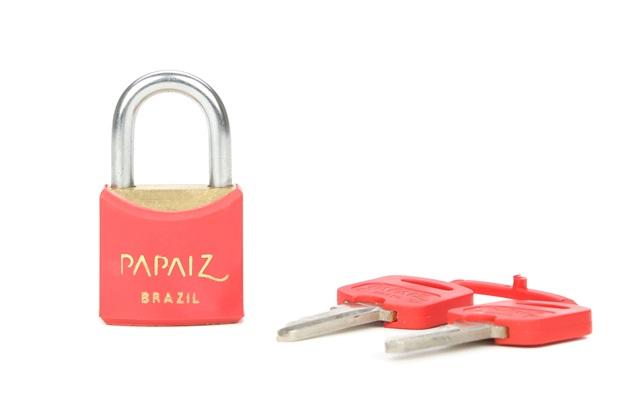 Cadeado Latão Cr25sm Vermelho Color Line - Papaiz