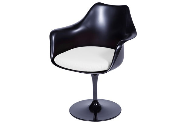 Cadeira Almofadada com Braços Saarinen Preta E Branca - Ór Design
