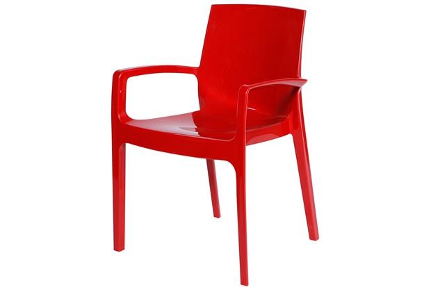 Cadeira com Braços em Polipropileno Alto Vermelha - Ór Design
