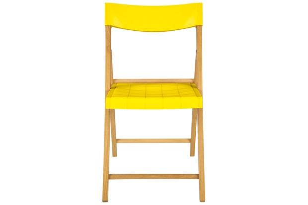 Cadeira Dobrável sem Braço em Madeira Tauarí 78,1x42,1x53,7cm Amarela - Tramontina
