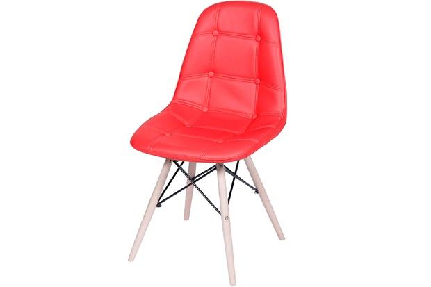 Cadeira Eames Botonê com Base em Madeira 43x44cm Vermelha - Ór Design