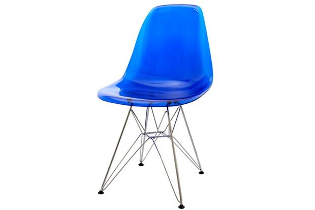 Cadeira Eames com Base de Metal Azul - Ór Design