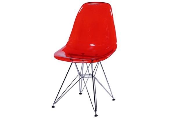 Cadeira Eames com Base de Metal Vermelha - Ór Design