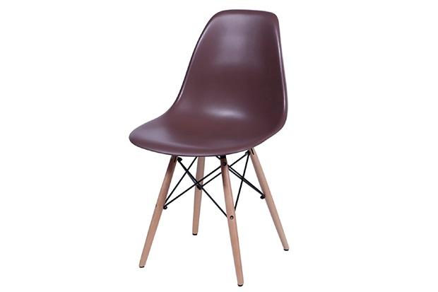 Cadeira Eames com Base em Madeira 46x46,5cm Café - Ór Design