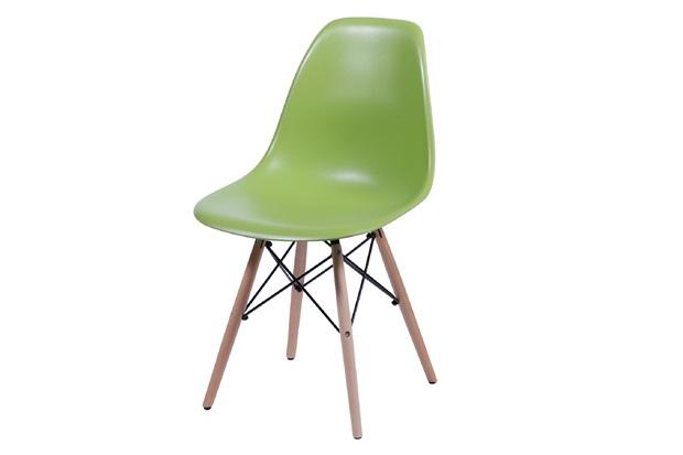 Cadeira Eames com Base em Madeira 46x46,5cm Verde - Ór Design