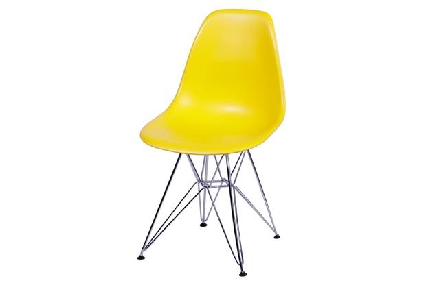 Cadeira Eames com Base em Metal 46x46,5cm Amarela - Ór Design