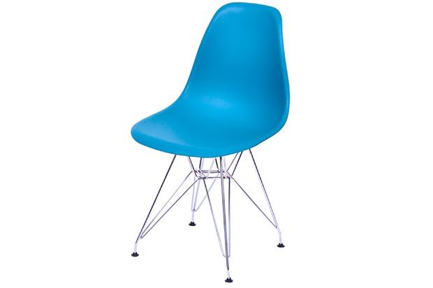 Cadeira Eames com Base em Metal 46x46,5cm Azul Petróleo - Ór Design