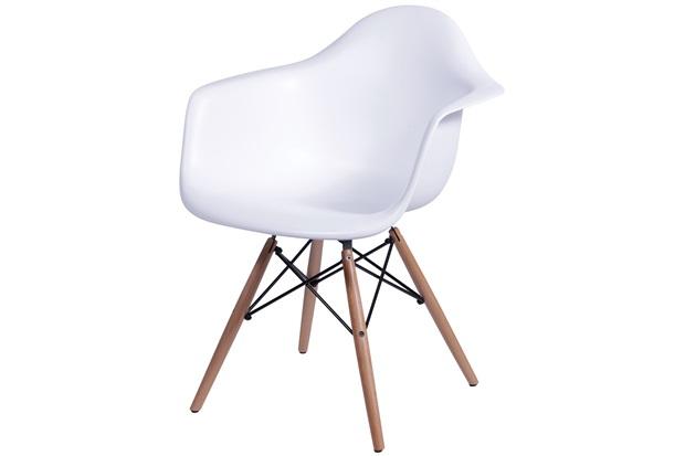 Cadeira Eames com Braços E Base de Madeira Branca - Ór Design