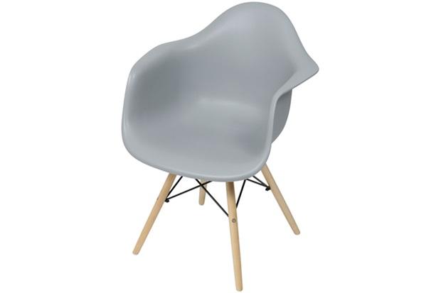 Cadeira Eames com Braços E Base de Madeira Cinza - Ór Design