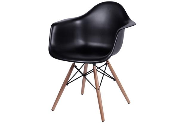 Cadeira Eames com Braços E Base de Madeira Preta - Ór Design