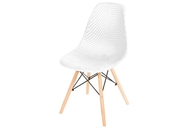 Cadeira Eames com Furos E Base de Madeira Branca - Ór Design