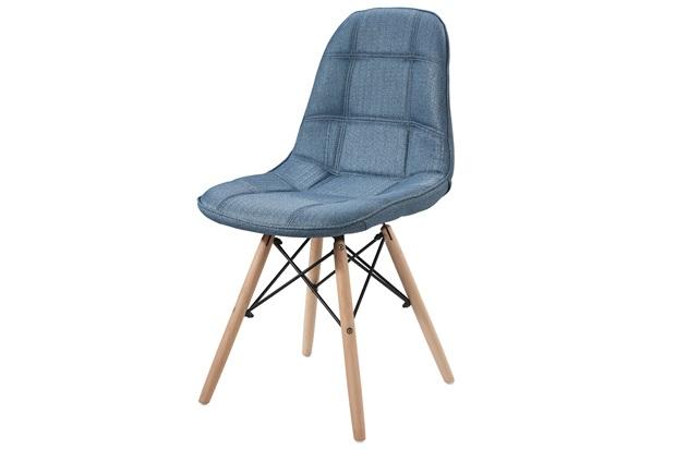 Cadeira Eames em Linho com Base de Madeira Azul - Ór Design