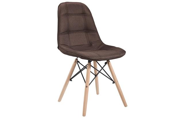 Cadeira Eames em Linho com Base de Madeira Marrom - Ór Design