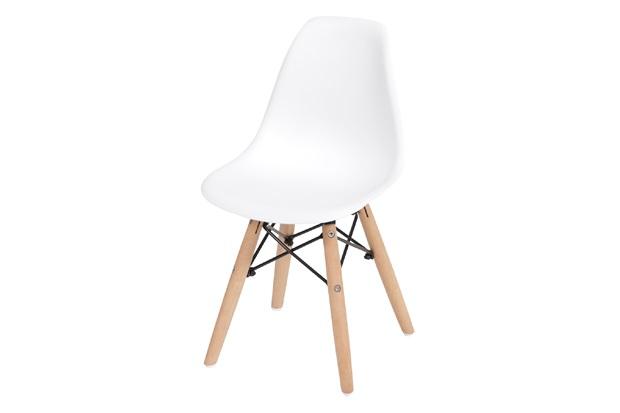 Cadeira Eames Infantil com Base em Madeira 33x31cm Branca - Ór Design