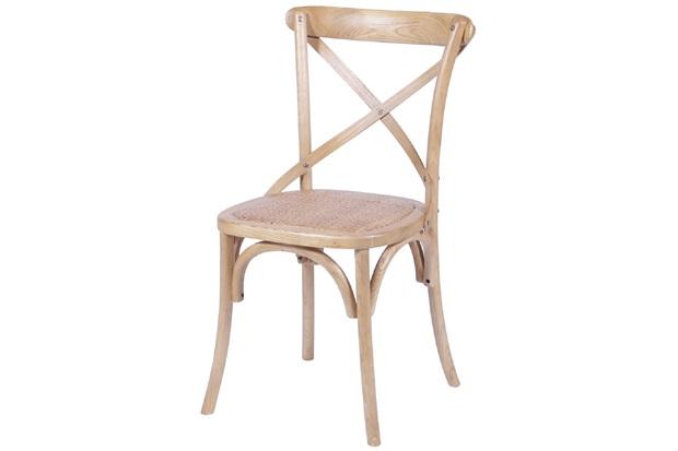 Cadeira em Madeira Cross 48x55cm Bege Clara - Ór Design