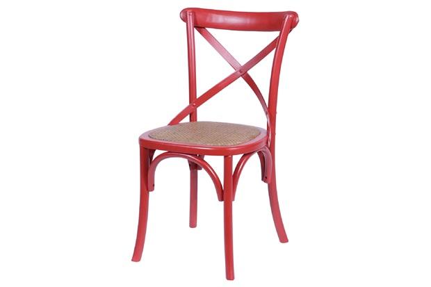 Cadeira em Madeira Cross 48x55cm Vermelha - Ór Design