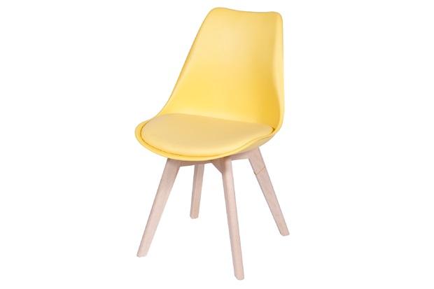 Cadeira Joly com Base em Madeira 47,5x49cm Amarela - Ór Design