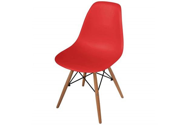 Cadeira Polipropileno com Pés de Madeira 82x47cm Vermelha - Importado