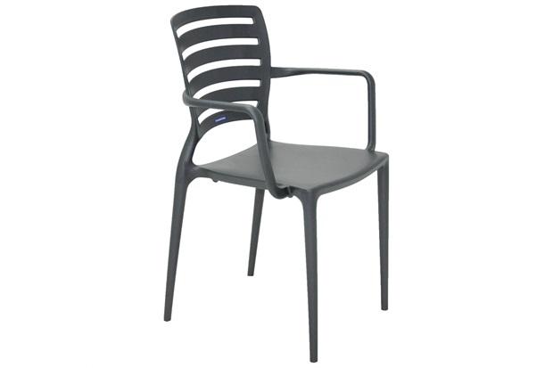 Cadeira Sofia com Braço Grafite  - Tramontina