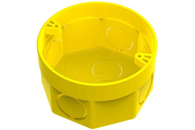 """Caixa de Luz Octogonal em Pvc Flex 3x3"""" Amarela - Tigre"""