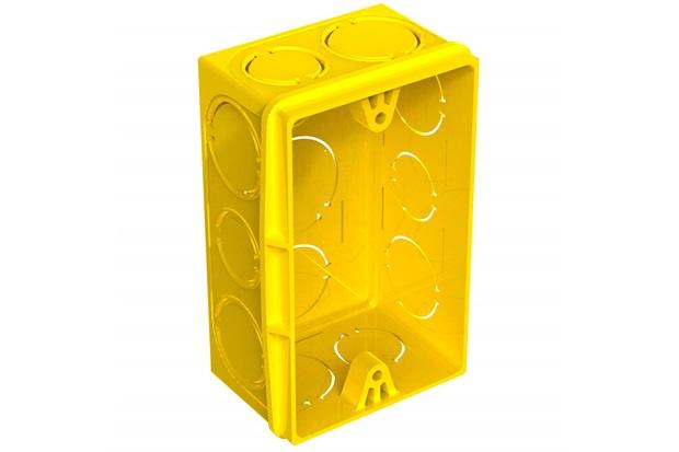 """Caixa de Luz Retangular em Pvc Flex 4x2"""" Amarela - Tigre"""