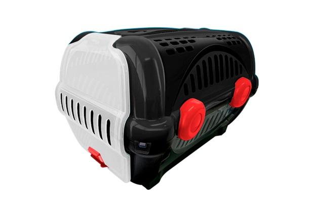 Caixa de Transporte para Pets Luxo 28,5x30cm Preta E Vermelha - Furacão Pet