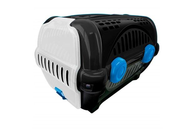 Caixa de Transporte para Pets Luxo 40x36,5cm Preta E Azul - Furacão Pet