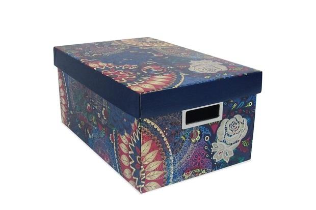 Caixa Organizadora Boho Chic 39x25cm Azul - Boxgraphia