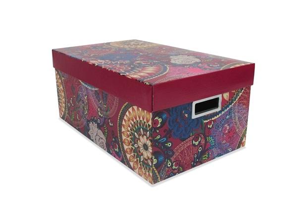 Caixa Organizadora Boho Chic 46x29cm Rosa - Boxgraphia