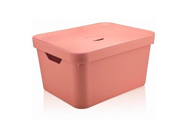 Caixa Organizadora com Tampa Cube 32 Litros Rosa Quartz - Martiplast