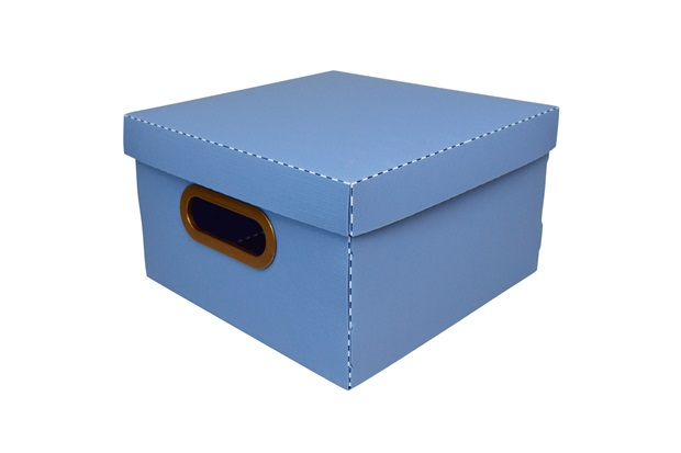 Caixa Organizadora com Tampa Linho Azul 15x25cm - Dello