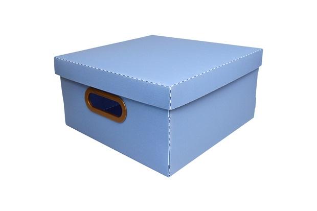 Caixa Organizadora com Tampa Linho Azul 15x29cm - Dello